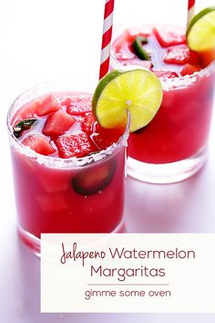 Jalepeno Watermelon Margaritas Recipe | gimmesomeoven.com