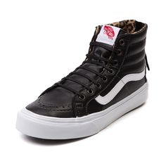 Shop for Vans Sk8 Hi Slim Zip Skate Shoe in Black White at Journeys Shoes. Shop today for the hottest brands in mens shoes and womens shoes at Journeys.com.Classic hi top skate style at its finest. The slimmed down lower profile Sk8 Hi Slim from Vans features a synthetic upper, padded collar, vulcanized rubber outsole, and Vans Off The Wall tongue patch. This special Zip edition Vans Sk8 Hi Slim features a black synthetic leather upper, white side stripe, leopard print lining, and zip-up ...