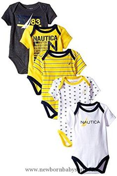 Baby Boy Clothes Nautica Baby-Boys Newborn 5 Pack N83 Bodysuit, Assorted, 6-9 Months