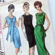 1960s Evening Cocktail Dress Pattern Two Lengths by SelvedgeShop