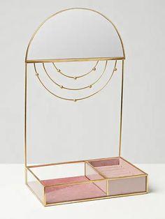 Glass & Gold Brass Mirror Pink Jewellery Box & Stand | Oliver Bonas Jewelry Tray, Jewelry Stand, Jewellery Display, Jewellery Box, Standing Jewelry Box, Perfume Display, Tray Styling, Brass Mirror, Circular Mirror