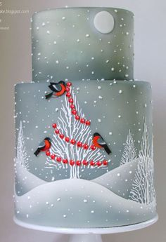 pretty winter scene on a cake. could be used for a winter wedding or even a holiday party. I love the background with the trees! Christmas Themed Cake, Christmas Cake Designs, Christmas Cake Decorations, Christmas Cupcakes, Holiday Cakes, Christmas Desserts, Xmas Cakes, Christmas Wedding, Winter Torte