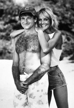"Robin Williams and Twiggy in ""Club Paradise."""