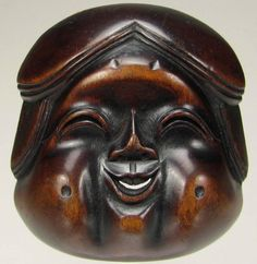 Top-quality, 19th C., Wooden Japanese Otafuku/Okame Netsuke Mask (Mennetsuke)…