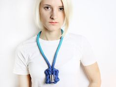 Ombré cotton rope necklace in turquoise with chrome von ChezKristel, €35.50