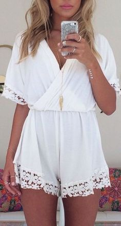 Lace trim romper