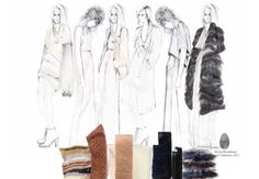 Every item within this design presentation has been positioned with care. Darker fabric samples have selected to communicate a luxurious, 'high-end' aesthetic and are placed at the bottom of the page to weight the composition. Figures have been accurately drawn in a range of cleverly repeated poses, creating interesting negative spaces and integrate seamlessly with the style of the fashion drawings.