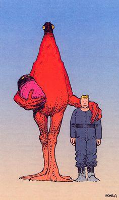 Moebius Art, Character Art, Character Design, 70s Sci Fi Art, Arte Cyberpunk, Comic Book Artists, Creature Design, Lovers Art, Cute Art