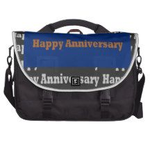 Happy Anniversary  Blue Gold White Black GIFTS Commuter Bags