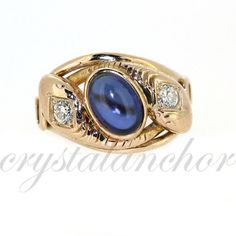 Antique 14k yellow gold Natural Sapphire & VS old by crystalanchor