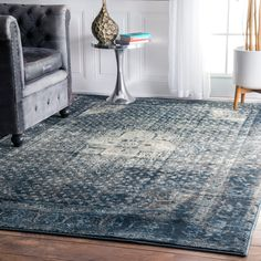 """Amazon.com: Traditional Vintage Inspired Overdyed Distressed Fancy Blue Area Rugs (7' 10"""" X 11' 2""""): Kitchen & Dining"""