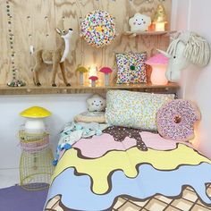 NEW Sack Me's latest bedlinen collection has arrived. Here's the Triple Sundae duvet cover prettying up our store. New colours in the donut cushion, Pom Pom blankets and cushions. There's even dolls bedding in this delightful new range. #teapeastore #downtothewoods