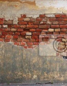 Fotobehang wand, old, brick - stenen muur van de oude bakstenen en gips ✓…