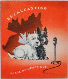 609 30s Radio Broadcasting Scottie Dogs Vintage Christmas Greeting Card | eBay