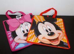 Lot-of-2-Disney-Reusable-Shopping-Grocery-Tote-Bags-Mickey-Mouse-Minnie-Mouse
