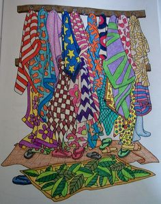 Color Me Cluttered coloring book and my colored pencils.