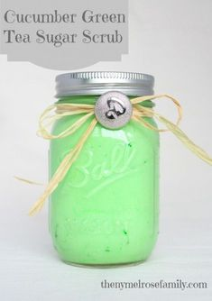 A fabulously easy Cucumber Green Tea Sugar Scrub made with only 3 ingredients.