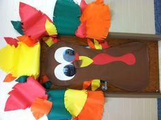 Thanksgiving Turkey Classroom Door in preschool and Pre-K