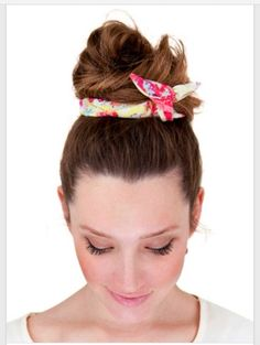 a cute way tO Use handkerchief as a hair bun tie