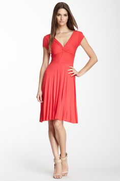 Ritz Cap Sleeve Twisted Bodice Dress in Bright Coral