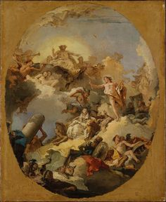 Giovanni Battista Tiepolo (1696- 1770) The Apotheosis of the Spanish Monarchy.Painting,sketch for a ceiling painting;Oil on canvas. Oval painted surface,84.1 x 68.9 cm. Metropolitan Museum of Art. Manhattan,New York City, United States of America.