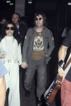 Yoko Ono and John Lennon at Ono's One to One concert at Madison Square Garden, 1972.