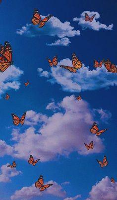 Blue Butterfly Wallpaper, Trippy Wallpaper, Cartoon Wallpaper Iphone, Iphone Wallpaper Tumblr Aesthetic, Homescreen Wallpaper, Iphone Background Wallpaper, Cute Disney Wallpaper, Retro Wallpaper, Aesthetic Pastel Wallpaper
