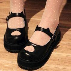 Kawaii sweet lolita cat ear platform shoes Love these! Kawaii Fashion, Lolita Fashion, Cute Fashion, Kawaii Shoes, Kawaii Clothes, Aesthetic Shoes, Aesthetic Clothes, Hollow Kitty, Cute Shoes
