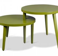 Set van 2 salontafels Max & Moritz olijfgroen. Kunnen draaien tov elkaar