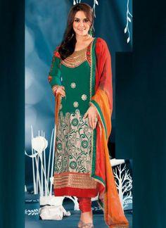 Fab Green #Georgette #Churidar #Suit