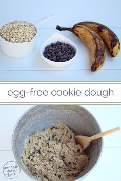 healthiest 3 ingredient cookies you'll ever make + egg-free cookie dough | 2 over ripe bananas, 2 cups gluten free rolled oats, 3/4 c chocolate chips. gluten , dairy, soy, egg and refined sugar free + vegan. easy and healthy clean eating chocolate chip cookies you can make in under 15 minutes. | www.nourishmovelove.com