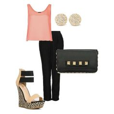 Match a black & nude wedge, like Lika, with a blush tank and black pants.