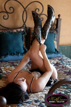 "The classic ""legs up"" shot but with cowboy boots."