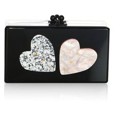 Edie Parker Jean Double Heart Box Clutch (€1.055) ❤ liked on Polyvore featuring bags, handbags, clutches, accessories, handbags clutches, heart purse, hardcase clutch, box clutch and kiss-lock handbags