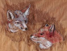 Fox painting in acrylic, biro and ink