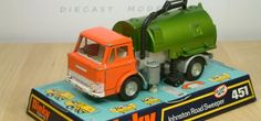 Dinky Toy Johnston Road Sweeper model. Features included a working revolving brush. This diecast model was produced between 1971 and 1977.