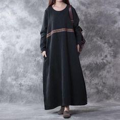 Linen Loose Fitting Long Sleeve Dress Black