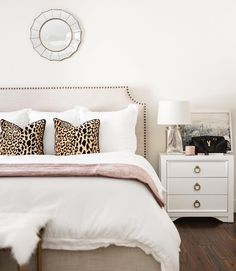 My bedroom is the ultimate single girls oasis 💕 I wanted it to be light and airy with a subtle touch of pink! Truthfully, there isn't room in the closet for a man right now! // Screenshot or Bedroom Inspo, Home Decor Bedroom, Chic Bedroom Ideas, Leopard Bedroom, Leopard Bedding, Leopard Pillow, Home And Deco, My New Room, Dream Bedroom