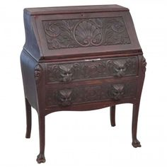 R.J. HORNER, AESTHETIC CARVED MAHOGANY DESK : Lot 293