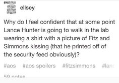 I'm 99% sure he would do this. And Skye/Daisy retailates on their behalf because Fitzsimmons blushes. Pretty soon it became the war of whoever had the most people wear their couple shirts. The winner so far has always been Coulson and Lola.
