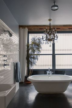 Bathroom space anne & leo's cozy cosmopolitan loft plants low lights and houseplants bathroom plants bathroom Unusual Bathrooms, Beautiful Bathrooms, Dream Bathrooms, Bathroom Plants, Small Bathroom, Light Bathroom, Bathroom Chandelier, Bathroom Ideas, Bathroom Lighting
