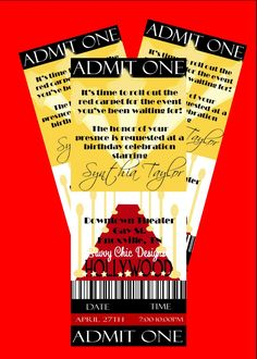 Hollywood Ticket Style Birthday Invitation-DIY Printable by Simply Sprinkled  . $13.00, via Etsy.