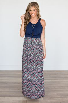 Shop our Sleeveless Chevron Printed Maxi Dress. Maxi dress featuring navy tank and chevron printed skirt. Free shipping on all US orders.