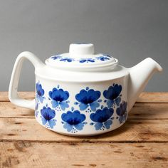 teapot white blue mid century norway by northvintage on Etsy