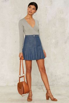 Handle With Flare Denim Skirt - Clothes | Denim | Skirts | Flared
