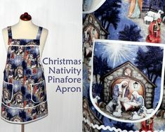 Christmas NATIVITY Pinafore Apron no tie apron by LauriesGiftsBiz