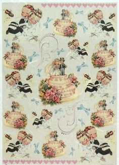Rice Paper for Decoupage Decopatch Scrapbook Craft Sheet Vintage Wedding Cake