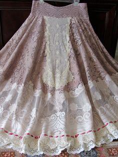 Victorian Tea Lace Skirt Design Romantic FULL Circle  Lace On Lace Ruffled Ruffles Shabby Chic Prairie