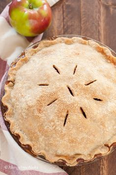Apple filling perfectly smothered in a sweet layer of cinnamon & nutmeg with a buttery-like gluten free flaky pie crust. This pie is delicious!