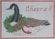 """Canada Goose w/ Wreath """"Cheers!"""" Door Hanger"""